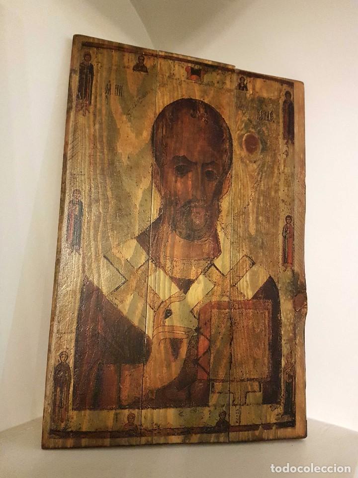 ICONO EN MADERA, REPRESENTACIÓN DE SAN NICOLÁS (Arte - Arte Religioso - Iconos)