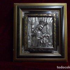 Arte: BONITA VIRGEN REPUJADA EN PLATA Y ENMARCADA. Lote 75879211