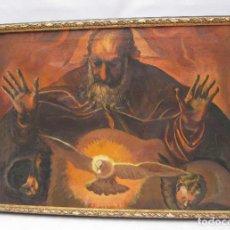 Arte: GRAN PINTURA RELIGIOSA SANTO CRISTO SAN JOSE PALOMA ESPIRITU SANTO ANGELES QUERUBINES. Lote 75933895