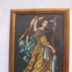 Arte: CUADRO PINTURA OLEO SOBRE LIENZO MARCO MADERA ANGEL PESCADOR. Lote 76715071