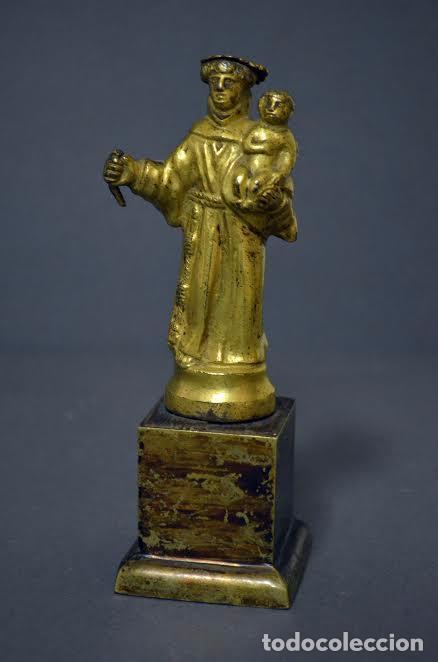 Arte: San Antonio de bronce dorado, S XVIII - Foto 2 - 77298549