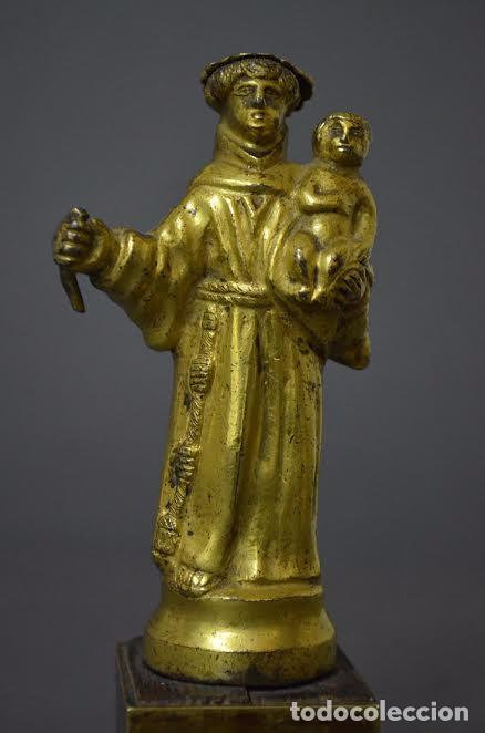 Arte: San Antonio de bronce dorado, S XVIII - Foto 3 - 77298549