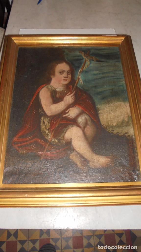 (M) ANTIGUA PINTURA RELIGIOSA AL OLEO , S.XVII - XVIII SAN JUAN ,59X46 CM. INSCRIPCIONES EN LATIN (Arte - Arte Religioso - Pintura Religiosa - Oleo)