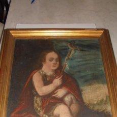 Arte: (M) ANTIGUA PINTURA RELIGIOSA AL OLEO , S.XVII - XVIII SAN JUAN ,59X46 CM. INSCRIPCIONES EN LATIN . Lote 77345525