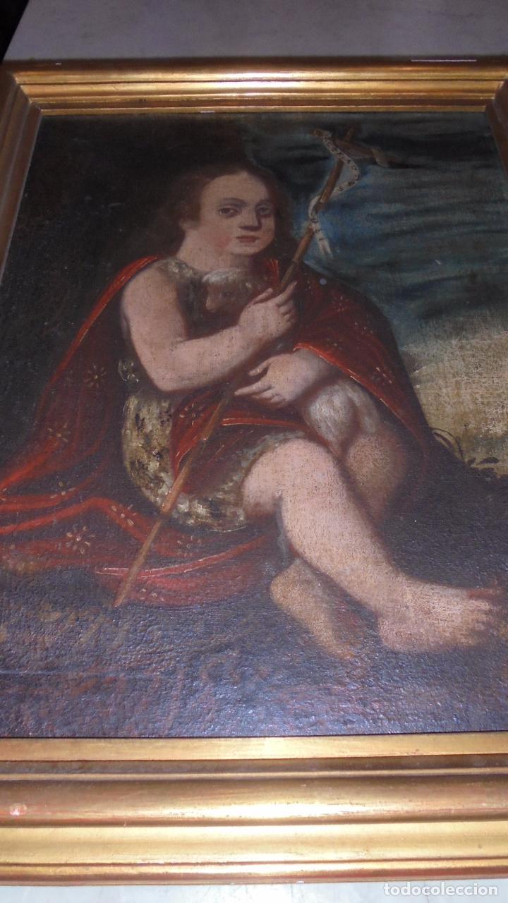 Arte: (M) ANTIGUA PINTURA RELIGIOSA AL OLEO , S.XVII - XVIII SAN JUAN ,59X46 CM. INSCRIPCIONES EN LATIN - Foto 2 - 77345525