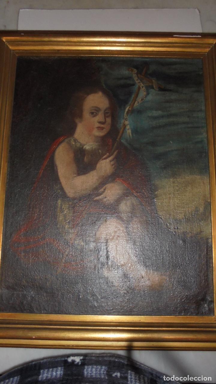 Arte: (M) ANTIGUA PINTURA RELIGIOSA AL OLEO , S.XVII - XVIII SAN JUAN ,59X46 CM. INSCRIPCIONES EN LATIN - Foto 3 - 77345525