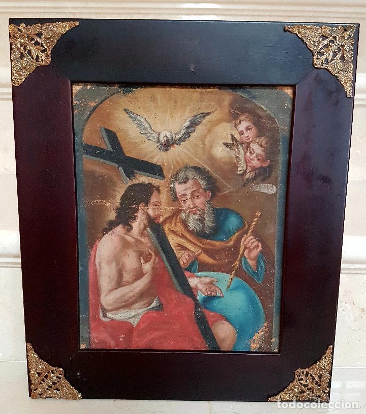 PRECIOSO OLEO LIENZO,LA SANTISIMA TRINIDAD,S. XVIII (Arte - Arte Religioso - Pintura Religiosa - Oleo)