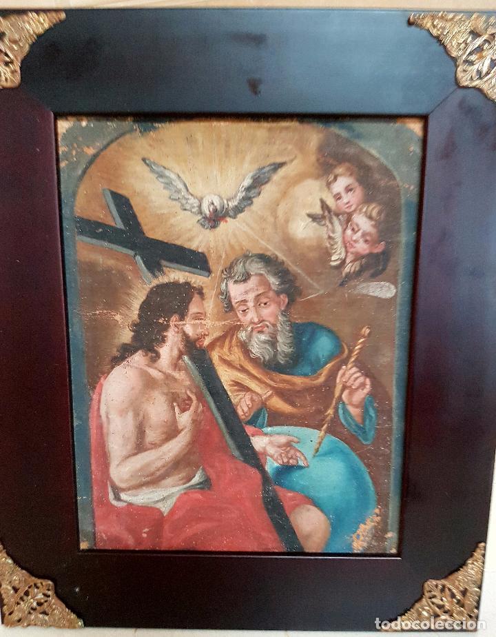 Arte: PRECIOSO OLEO LIENZO,LA SANTISIMA TRINIDAD,S. XVIII - Foto 2 - 77363813