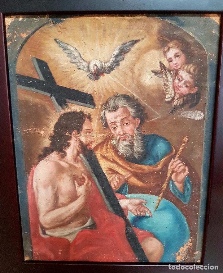 Arte: PRECIOSO OLEO LIENZO,LA SANTISIMA TRINIDAD,S. XVIII - Foto 3 - 77363813