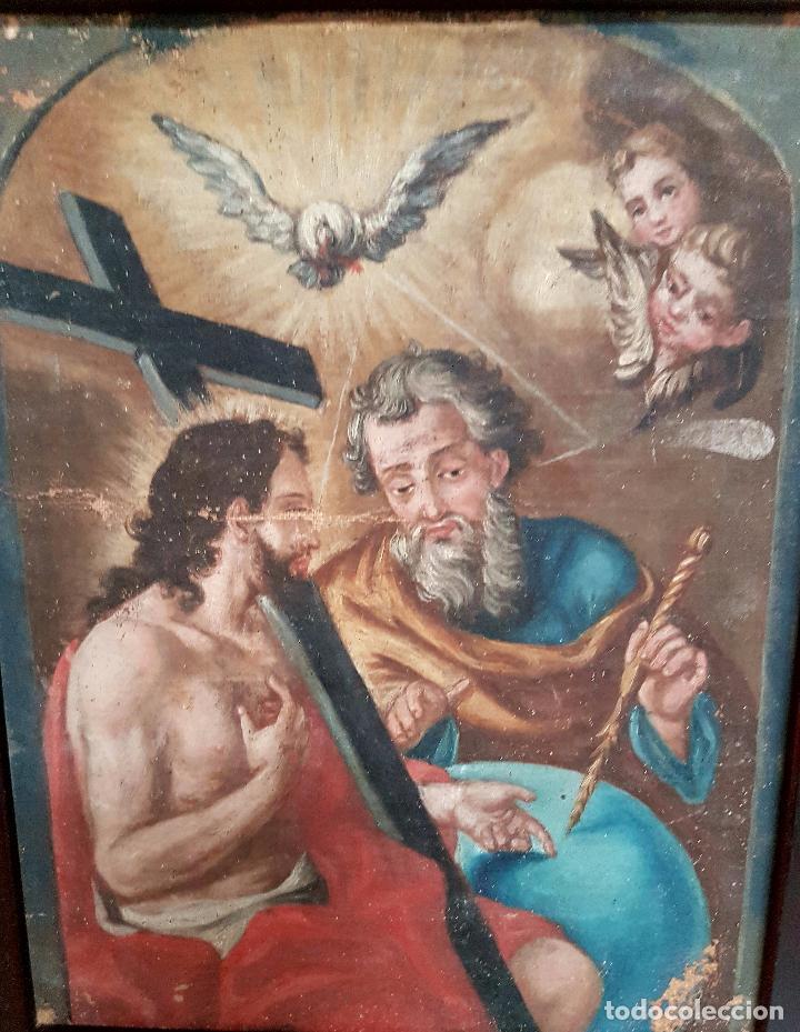 Arte: PRECIOSO OLEO LIENZO,LA SANTISIMA TRINIDAD,S. XVIII - Foto 4 - 77363813