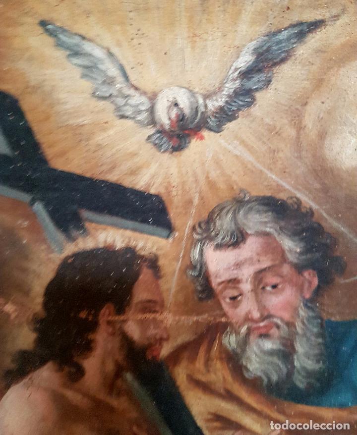 Arte: PRECIOSO OLEO LIENZO,LA SANTISIMA TRINIDAD,S. XVIII - Foto 8 - 77363813