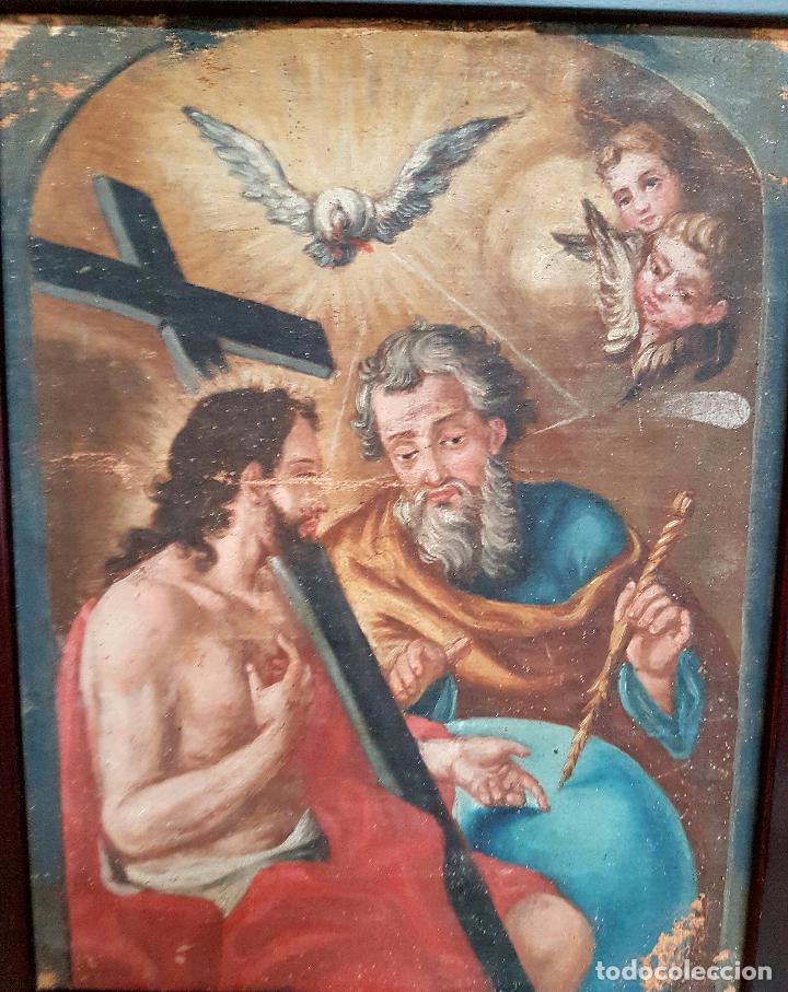 Arte: PRECIOSO OLEO LIENZO,LA SANTISIMA TRINIDAD,S. XVIII - Foto 12 - 77363813