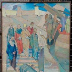 Arte: HERMINI SENTÍS, ESCENA RELIGIOSA 1958, ÓLEO SOBRE TELA 144X80CM. MARCO: 146X84 CM.. Lote 77409685