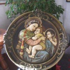 Arte: 72 CM - GRAN PLAFON PLACA RELIGIOSO CAPILLA - ROSETON VIRGEN NIÑO JESUS Y SAN JUANITO - 1930 APROX. Lote 77437481