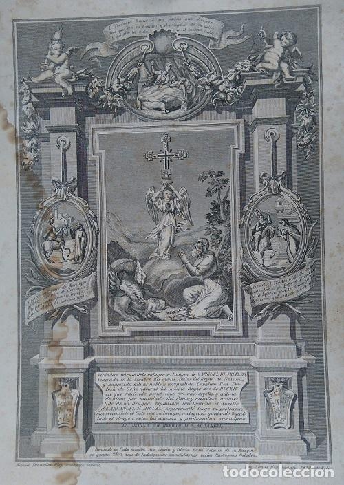 VERDADERO RETRATO DE LA MILAGROSA IMAGEN DE S. MIGUEL DE EXCELSIS MONTE ARALAR NAVARRA 1879 (Arte - Arte Religioso - Grabados)