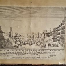 Arte: VISTA DE LAS RUINAS DE LA PLAZA MAYOR DE MADRID. 1790. Lote 77629329