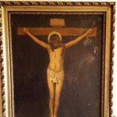Arte: CRISTO CRUCIFICADO .LIENZO SOBRE OLEO .80X60 CM , SIN MARCO .XVIII. Lote 77634749