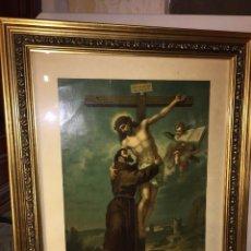 Arte: ELEGANTE CUADRO ANTIGUA LITOGRAFIA EPOCA MODERNISTA SAN FRANCISCO JAVIER MARCO DE MADERA, 50X60 CMTS. Lote 78174585
