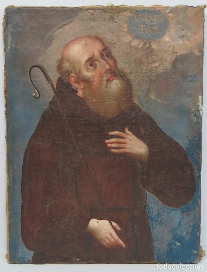 ANTIGUO Y PRECIOSO OLEO S/ LIENZO. SAN FRANCISCO DE PAULA. SIGLO XVII (Arte - Arte Religioso - Pintura Religiosa - Oleo)