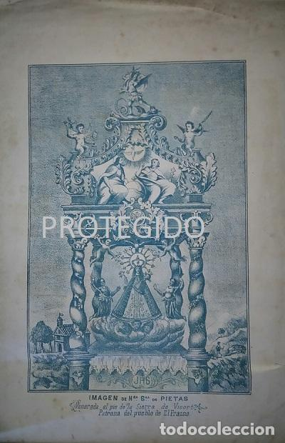 ANTIGUO GRABADO DE LA IMAGEN DE Nª Sª DE PIETAS PATRONA DEL PUEBLO DE EL FRASNO ZARAGOZA (Arte - Arte Religioso - Grabados)