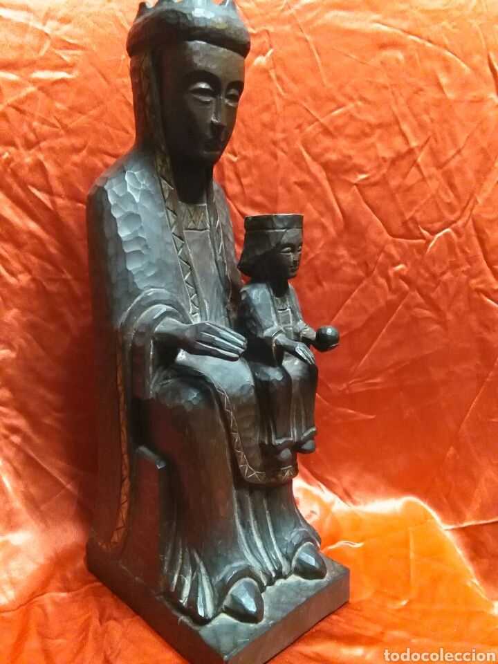 Arte: Virgen con niño, de madera tallada, firmada, Genoves. - Foto 10 - 78381997