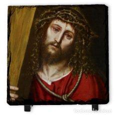 Arte: BONITA PIZARRA 10X10 CON ROSTRO DE JESÚS NAZARENO. Lote 78407881