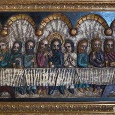 Arte: CUADRO ULTIMA CENA NEORROMÁNICO S. XX POLICROMADO.. Lote 78596053
