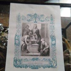 Arte: REF - KK - 1853 ANTIGUO GRABADO ORIGINAL CON ORLA AZUL - SANTA ISABEL REINA DE PORTUGAL. Lote 79106077
