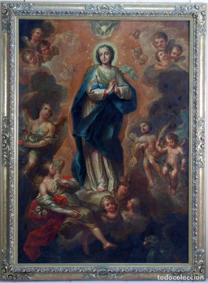 OLEO LIENZO INMACULADA ISIDORO DE TAPIA (VALENCIA 1712 - MADRID 1778) XVIII (Arte - Arte Religioso - Pintura Religiosa - Oleo)