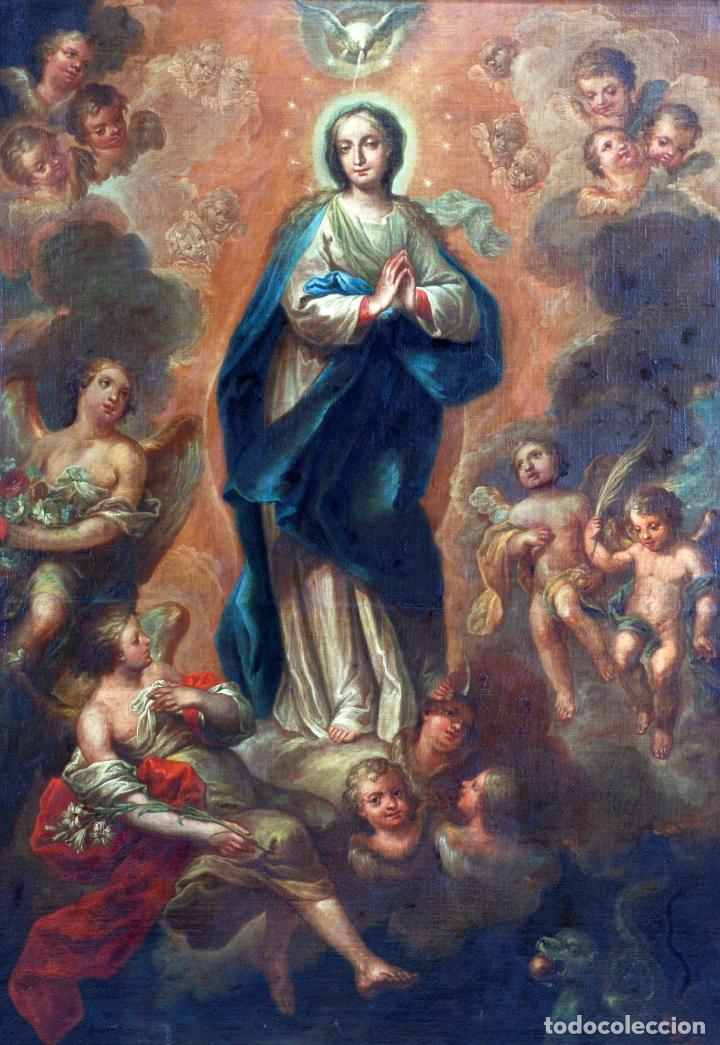 Arte: Oleo lienzo Inmaculada Isidoro de Tapia (Valencia 1712 - Madrid 1778) XVIII - Foto 2 - 79263621