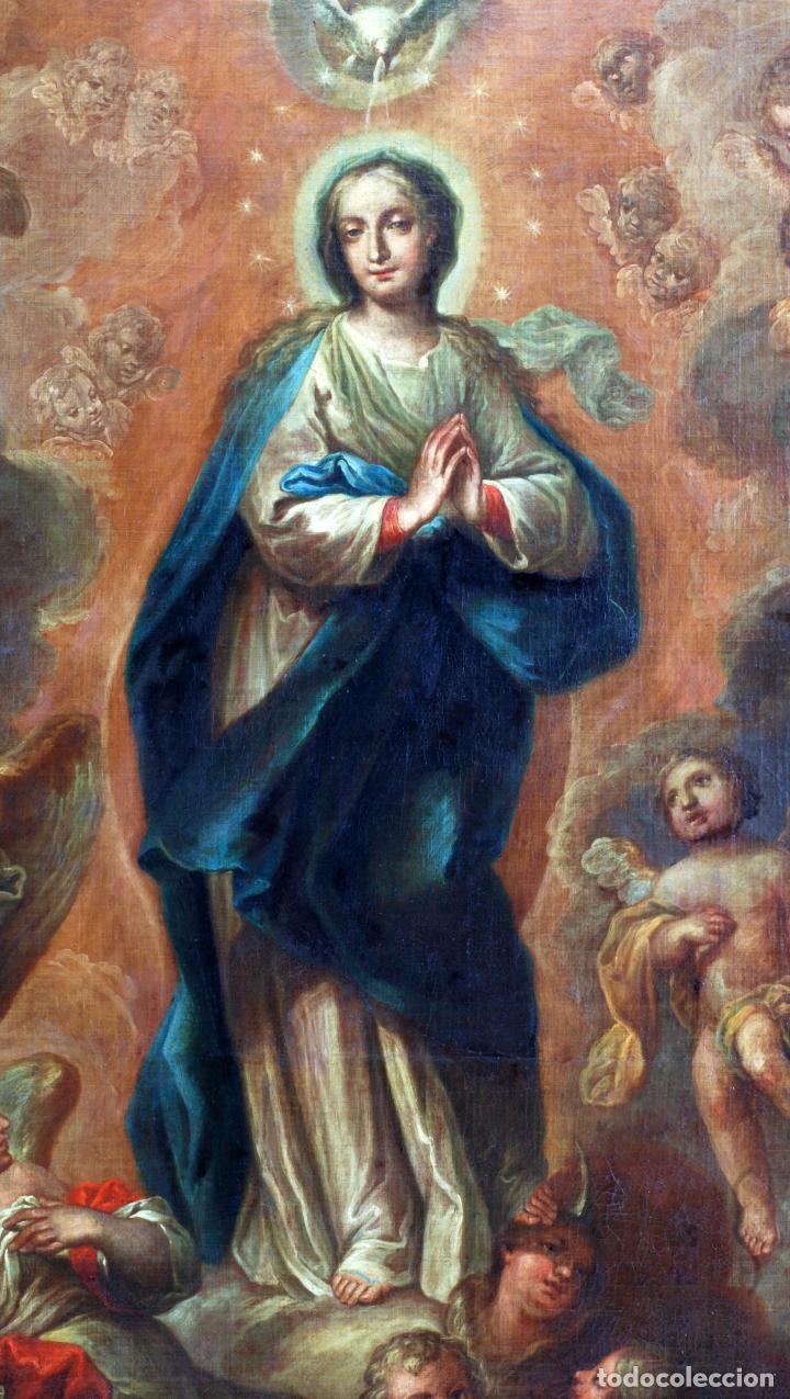 Arte: Oleo lienzo Inmaculada Isidoro de Tapia (Valencia 1712 - Madrid 1778) XVIII - Foto 3 - 79263621