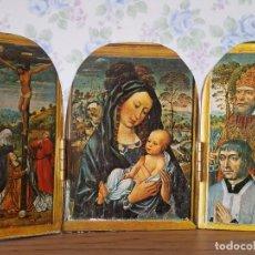 Art: TRÍPTICO RELIGIOSO VIRGEN CON NIÑO PEQUEÑO MADERA BURGOS. Lote 79621297