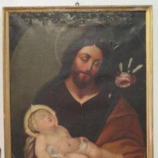 Arte: ANTIGUO Y PRECIOSO SAN JOSE CON EL NIÑO JESUS. OLEO S/ LIENZO. FINALES SIGLO XVIII. Lote 211395120