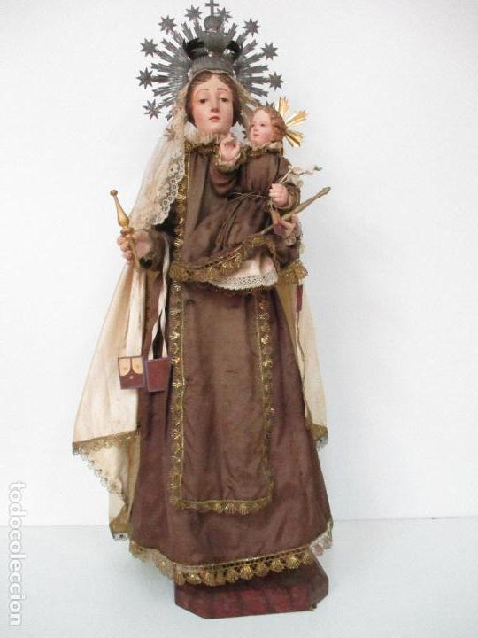 PRECIOSA VIRGEN DEL CARMEN, CON NIÑO - CAP Y POTA - MADERA - ESCAPULARIOS - 83 CM ALTURA - S. XIX (Arte - Arte Religioso - Escultura)