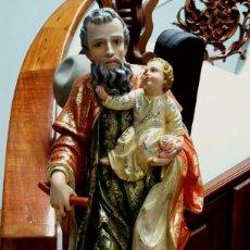 Arte: ESCULTURA DE SAN JOSE Y EL NIÑO JESUS EN MADERA. Lote 79828113