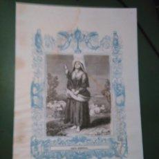 Arte: REF: KK - AÑO 1861 ORIGINAL GRABADO DE LA EPOCA RELIGIOSO - SANTA GENOVEVA. Lote 79927053