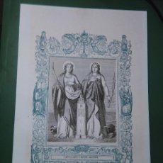 Arte: REF: KK - AÑO 1861 ORIGINAL GRABADO DE LA EPOCA RELIGIOSO - SANTAS SANTA JUSTA Y RUFINA MARTIRES. Lote 79933569