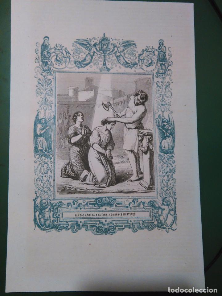 REF: KK - AÑO 1861 ORIGINAL GRABADO DE LA EPOCA RELIGIOSO - SANTAS SANTA AMALIA Y RUFINA HERMANAS (Arte - Arte Religioso - Grabados)