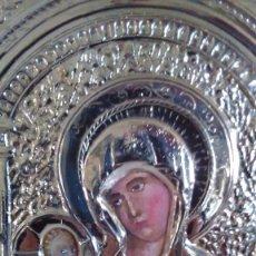 Arte: ICONO DE LA VIRGEN CON NIÑO EN PLATA CON LAS CARAS PINTADAS. Lote 79986625