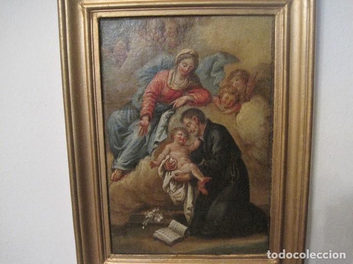 APARICIÓN DE LA VIRGEN Y SAN CAYETANO. GUILLERMO MESQUIDA O DEL CIRCULO. PINTOR BARROCO DEL S. XVIII (Arte - Arte Religioso - Pintura Religiosa - Oleo)