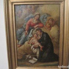 Arte: APARICIÓN DE LA VIRGEN A S. CAYETANO. GUILLERMO MESQUIDA O DEL CIRCULO. PINTOR BARROCO DEL S. XVIII. Lote 80123865
