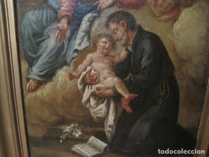 Arte: APARICIÓN DE LA VIRGEN Y SAN CAYETANO. GUILLERMO MESQUIDA O DEL CIRCULO. PINTOR BARROCO DEL S. XVIII - Foto 3 - 80123865