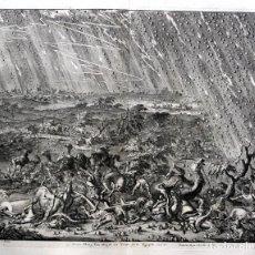 Arte: 1729 - BIBLIA - 7ª PLAGA DE EGIPTO -GRANIZO Y FUEGO - LUYKEN - ENGRAVING GRAVURE. Lote 80265657