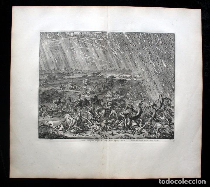 Arte: 1729 - BIBLIA - 7ª PLAGA DE EGIPTO -GRANIZO y FUEGO - LUYKEN - ENGRAVING GRAVURE - Foto 2 - 80265657