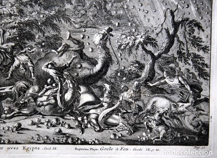 Arte: 1729 - BIBLIA - 7ª PLAGA DE EGIPTO -GRANIZO y FUEGO - LUYKEN - ENGRAVING GRAVURE - Foto 3 - 80265657