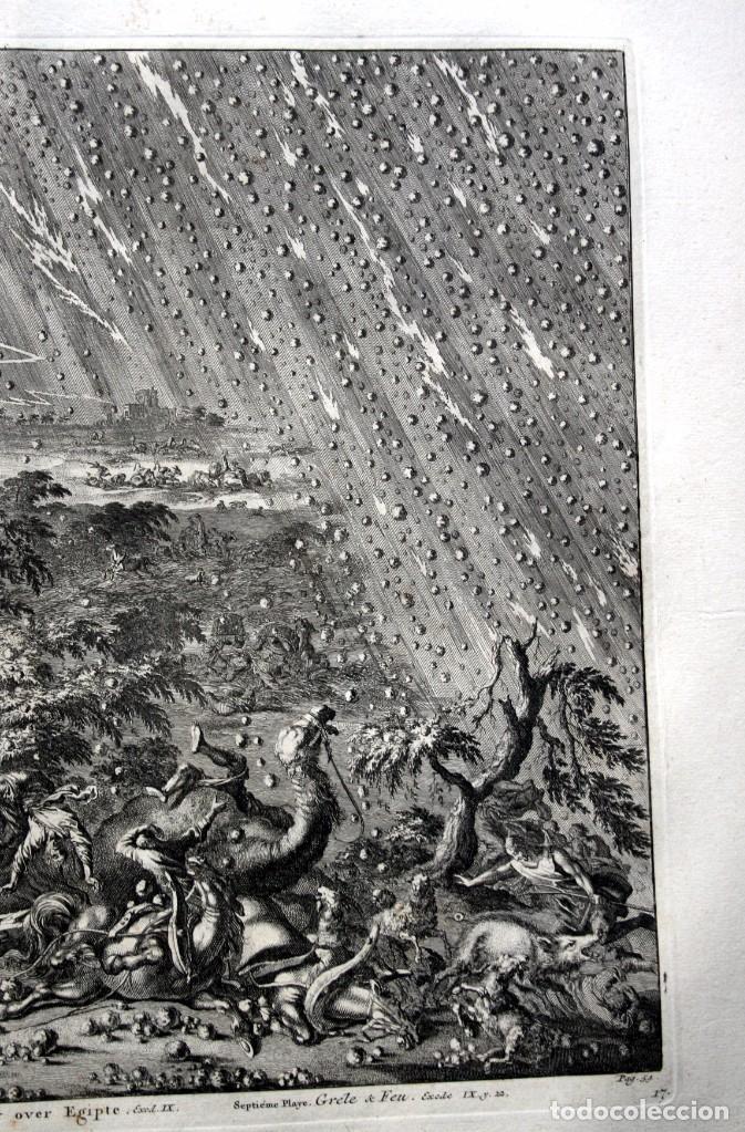 Arte: 1729 - BIBLIA - 7ª PLAGA DE EGIPTO -GRANIZO y FUEGO - LUYKEN - ENGRAVING GRAVURE - Foto 5 - 80265657