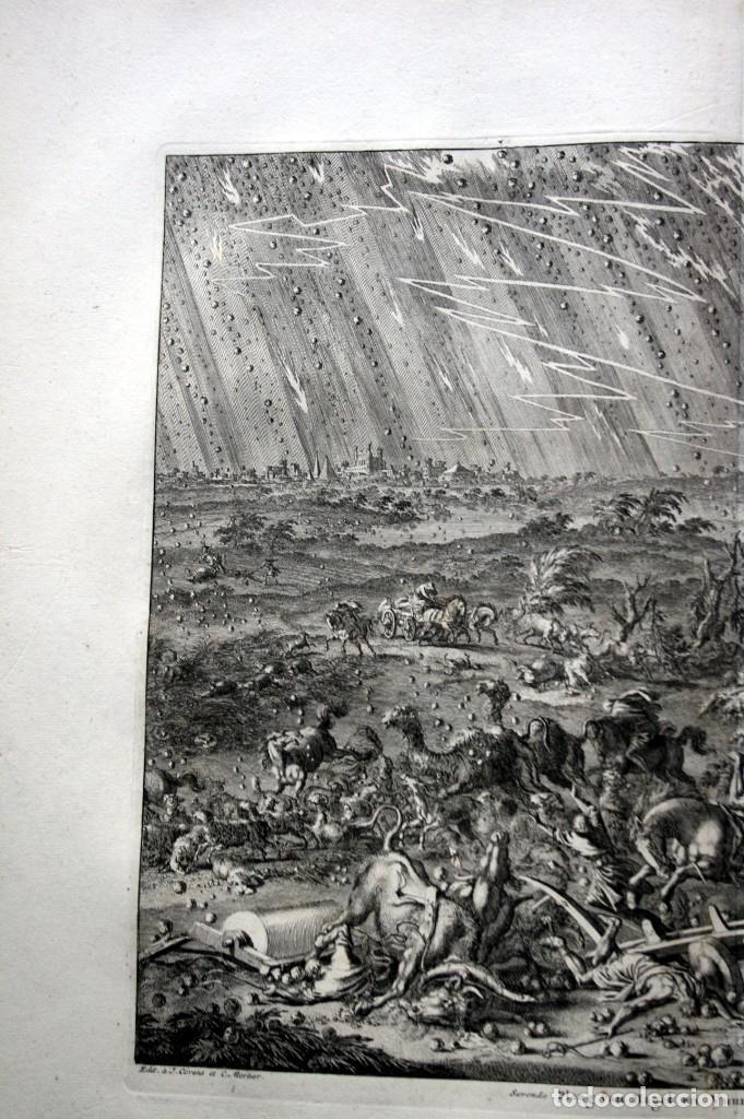 Arte: 1729 - BIBLIA - 7ª PLAGA DE EGIPTO -GRANIZO y FUEGO - LUYKEN - ENGRAVING GRAVURE - Foto 6 - 80265657