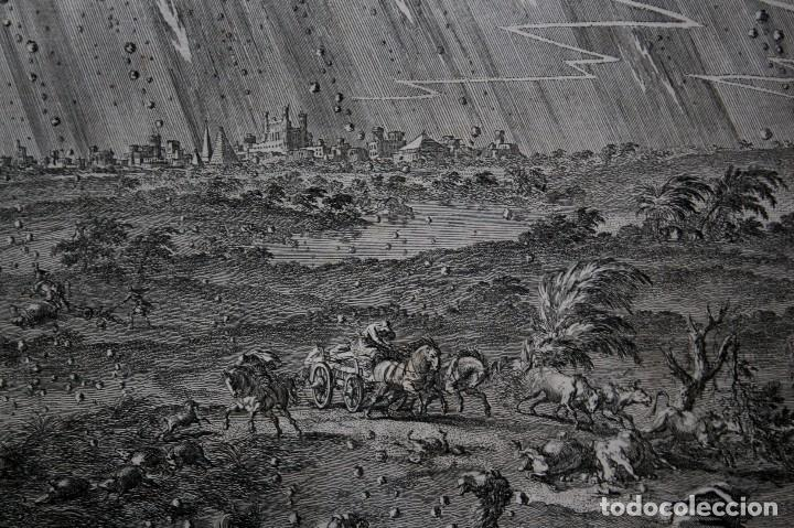 Arte: 1729 - BIBLIA - 7ª PLAGA DE EGIPTO -GRANIZO y FUEGO - LUYKEN - ENGRAVING GRAVURE - Foto 7 - 80265657