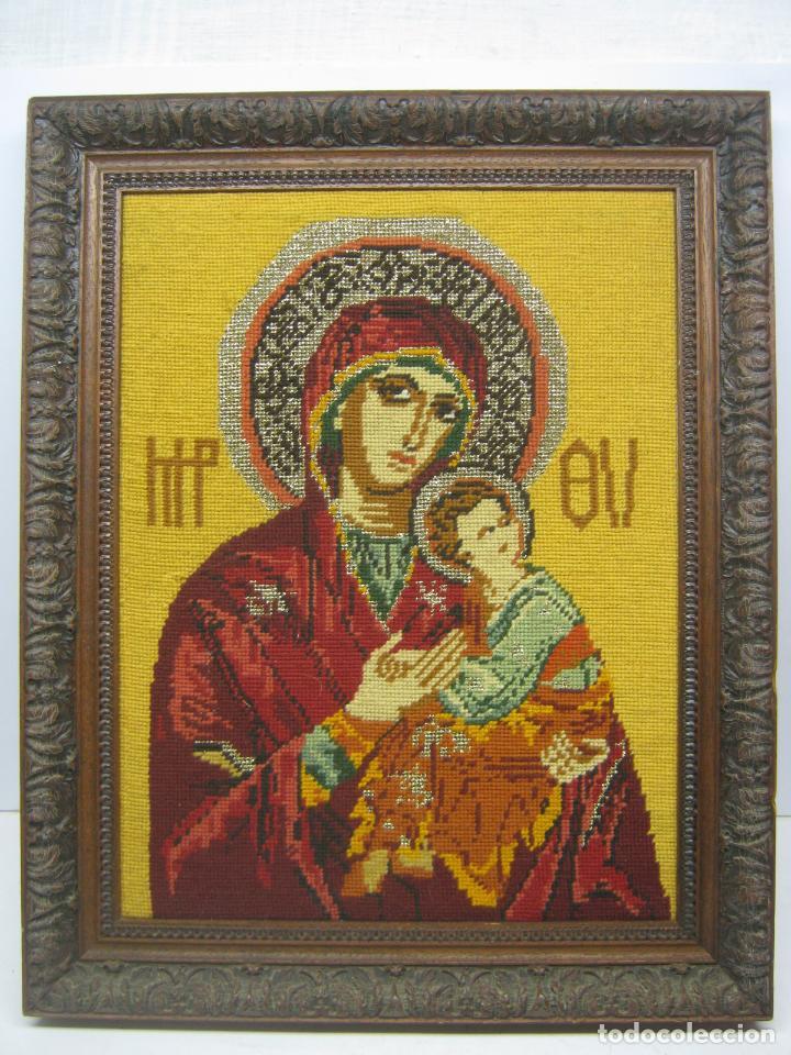 ESPECTACULAR ICONO EN PUNTO DE CRUZ - VIRGEN DEL PERPETUO SOCORRO - BELLO MARCO (Arte - Arte Religioso - Pintura Religiosa - Otros)