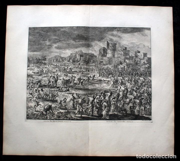 Arte: 1729 - BIBLIA - 8ª PLAGA DE EGIPTO - LAS LANGOSTAS - LUYKEN - ENGRAVING - GRAVURE - Foto 2 - 80629622
